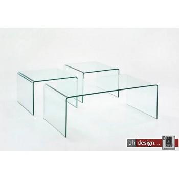 Tessa 3 -er Couchtischset gebogenes Glas, 1 x 110 x 60 cm, 2 x 40 x 50 cm