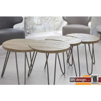 Nature Line 4-Satz Tisch mit Metallfüßen  in Mangoholz massiv  je 48 x H 45 cm