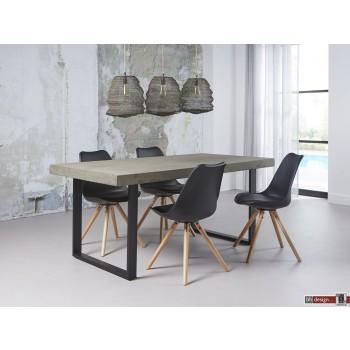 Stone Line Esstisch, Beton Style mit Stahlgestell 180 x 90 cm