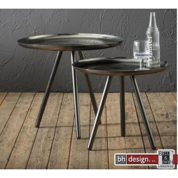Factory Line 2 Satz Tisch Metall used Look, 51 cm und 59 cm rund
