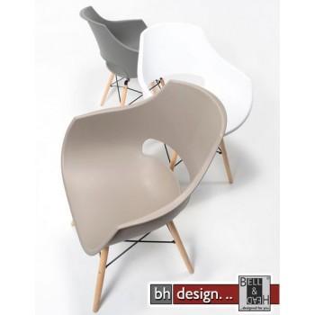 Emma  Schalenstuhl 4 - er Set aus hochwertigem Kunststoff mit Holzspinnengestell in verschiedenen Farben