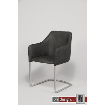 Club Freischwinger Stuhl mit Armlehnen und Edelstahlbeinen in verschiedenen Farben