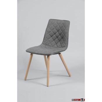 Belinda Designstuhl Stoff und Holzgestell in grau