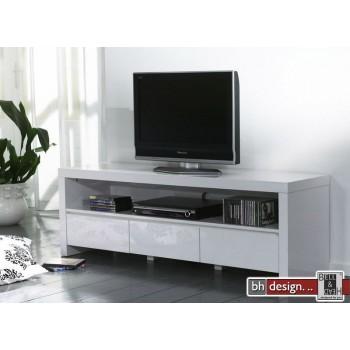 silas tv tisch hochglanz schwarz weiss extrem gloss mit drei schubladen powered by bell head. Black Bedroom Furniture Sets. Home Design Ideas