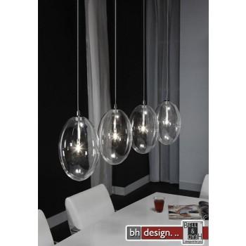 Lounge Line Pendelleuchte mit 4 Leuchten aus Klarglas und Chrom