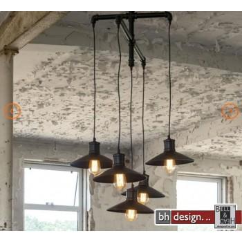 Factory Line Hängelampe 5-er Set  gebranntes Metall Schwarz 105 x H 120 cm