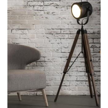 Studio Line Stehlampe Vintage Look, verstellbar mit Stahllampenschirm und Holzbeinen schwarz 67 x 67 x 135 cm