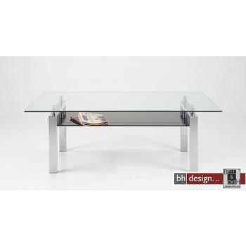 Carlo Couchtisch Glas/Schwarzglas 140 x 80 cm