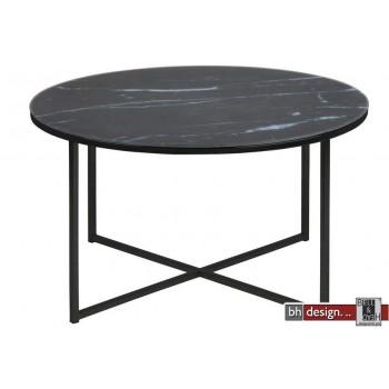 alisma couchtisch milchglas im marmorlook schwarz 80 cm. Black Bedroom Furniture Sets. Home Design Ideas
