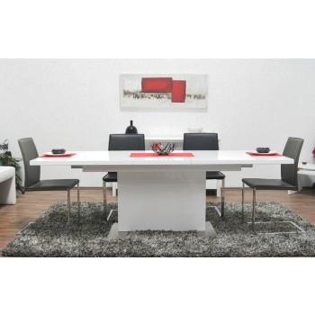 Brühl Säulentisch Hochglanz Weiss 180/230 cm