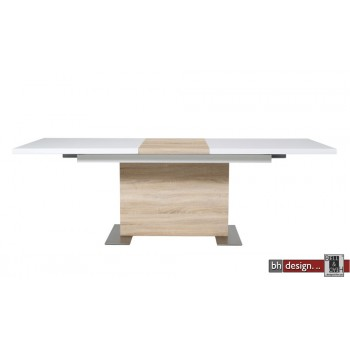 Brühl Säulentisch Hochglanz Weiss/Eiche160/210cm