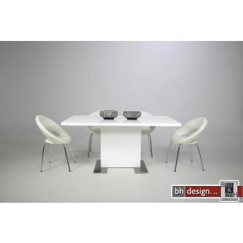 Brühl Säulentisch Hochglanz Weiss 160 x 90 cm