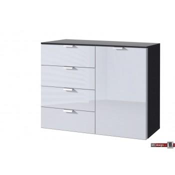 Express Möbel Kommode Carina , 4 Schubkästen, 1 Tür, Front verschiedene Glasvarianten, 100 x 80 cm