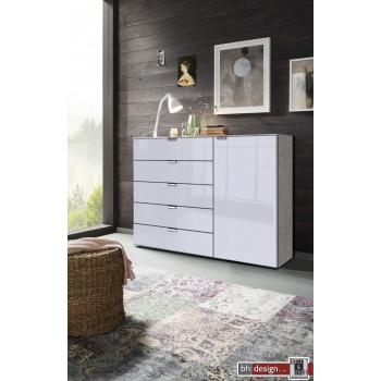 Express Möbel Kommode Carina , 5 Schubkästen, 1 Tür, Front verschiedene Glasvarianten, 130 x 100 cm