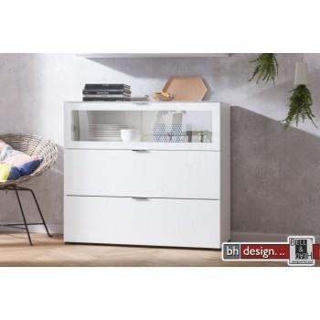 CS Schmal Kommode Cleo, 109 x 98 cm, 1 Klappe Glasfront, 2 Schubkästen in  verschiedenen Farben
