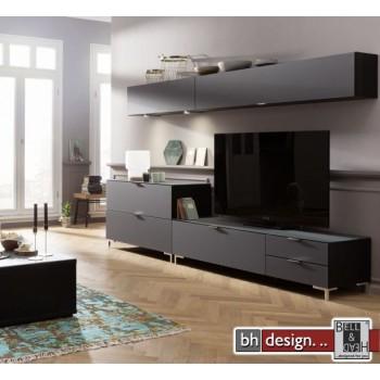 CS Schmal Wohnwand Cleo, 272 x 50 cm x  variabel 1,TV Board, 1 Kommode, 2 Hängeelemte