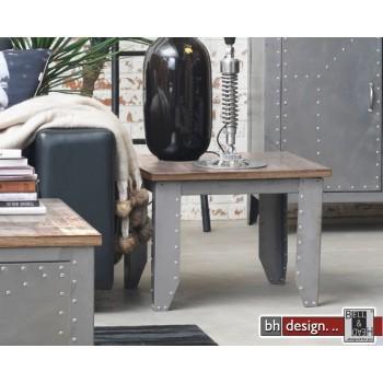 Factory Line Beistelltisch  Detroit by Canett Design, Metall used Look und  Mangoholz 60 x 60 x 45 cm