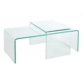 Jake 2-Satz Tisch  gebogenes Glas  100 x 35 x T 50 cm