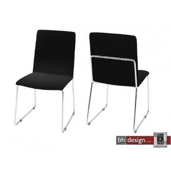 Kitos Designstuhl mit Chrombeinen in weiss, alternativ schwarz