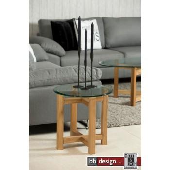 Melia Beistelltisch Klarglas mit Eiche massiv rund 50 x 50 cm