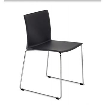 Slim Stuhl stapelbar reg. Leder schwarz oder braun