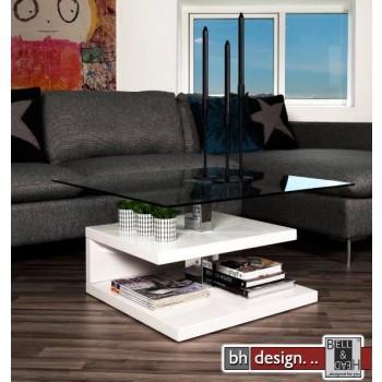 Suzie Couchtisch hochglanz weiss mit Glasplatte 78 x 43 cm
