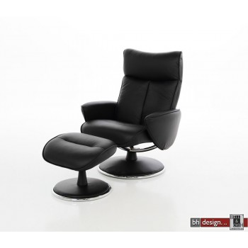 Tanja XL Loungestuhl mit Hocker Leder schwarz