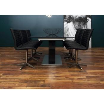 Tay Sockeltisch dunkelgrau mit Grauglasplatte ausziehbar von 160 bis 210 cm