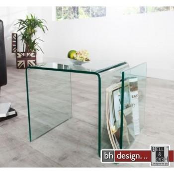 Thilde Zeitungshalter / Beistelltisch gebogenes Glas B 50 x T 40 x H 40 cm