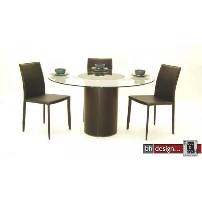 design esstisch glas mit braunglas drehbar 137 cm rund. Black Bedroom Furniture Sets. Home Design Ideas