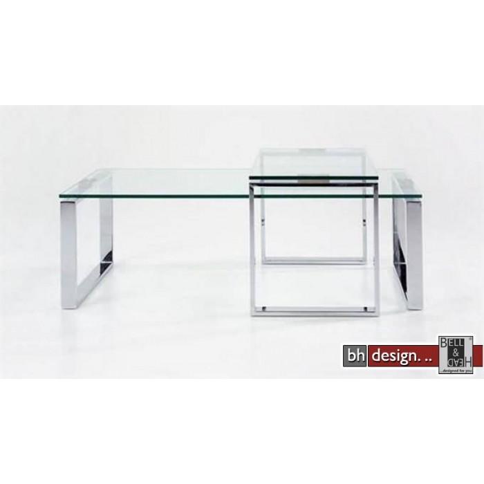 Design Couchtisch Klarglas Chrom 115 x 69 cm NEU  eBay