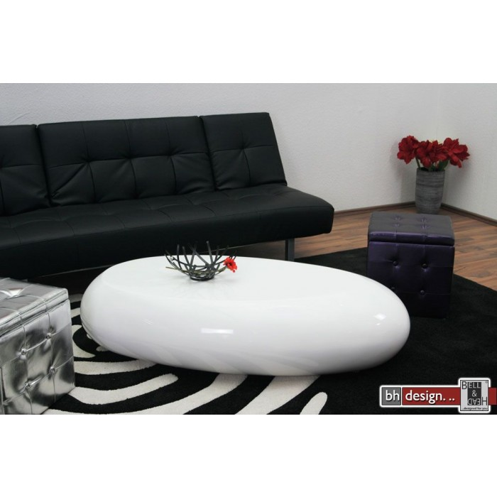 design couchtisch oval weiss hochglanz 130 x 70 cm neu ebay. Black Bedroom Furniture Sets. Home Design Ideas