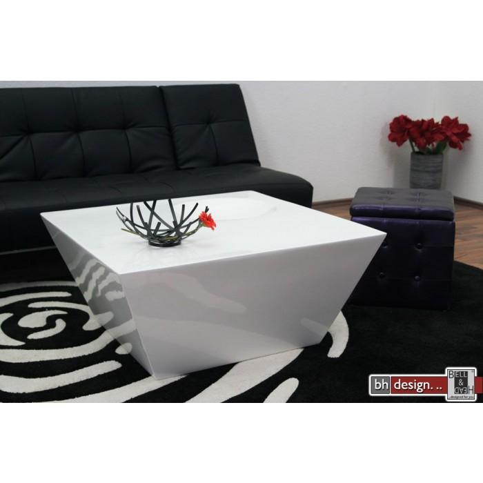 Stylischer Design Couchtisch weiss hochglanz 90 x 90 cm