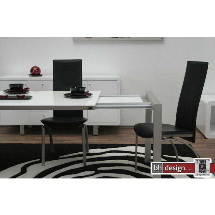 design esstisch weiss hochglanz mit alubeinen ausziehbar von 170 bis 260 cm ebay. Black Bedroom Furniture Sets. Home Design Ideas