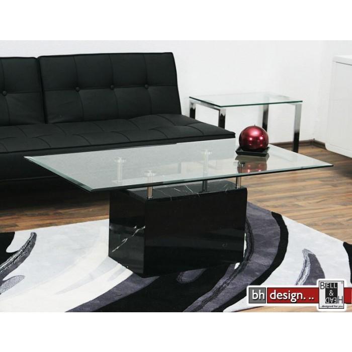 Design Couchtisch Marmor mit Glas u Chrom 130 x 70 cm NEU