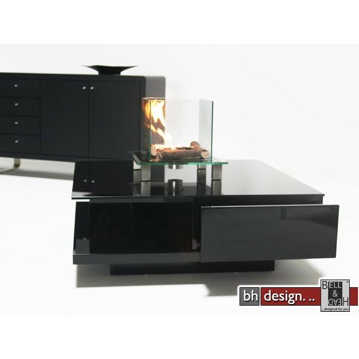 Design Couchtisch Schwarz Hochglanz Schwarzglas 100cm