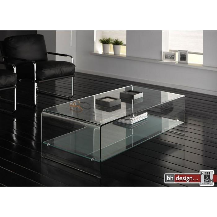 design couchtisch gebogenes glas mit zwischenfach 135 x 65 bruchsal. Black Bedroom Furniture Sets. Home Design Ideas