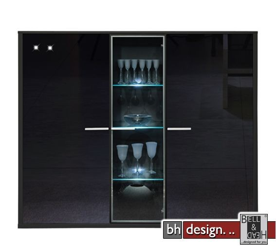 arte m highboard game schwarz schwarzglas powered by bell head preiswerte versandkosten. Black Bedroom Furniture Sets. Home Design Ideas