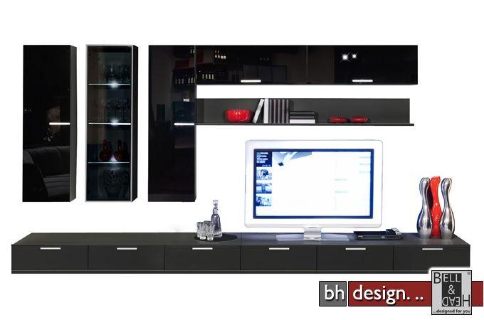 arte m wohnwand game schwarz 9205 powered by bell head preiswerte versandkosten innerhalb de. Black Bedroom Furniture Sets. Home Design Ideas