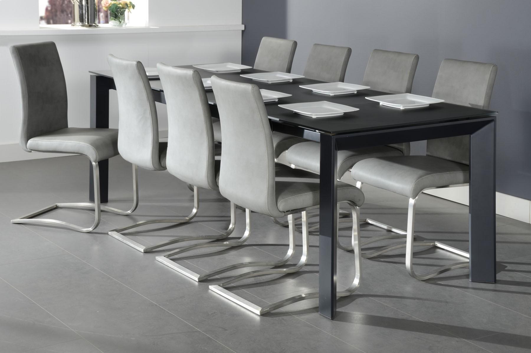 Esstisch schwarz  Milan 2 Esstisch oder Konferenztisch gefrostetes Grauglas und ...