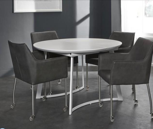 becky esstisch weiss seidenmatt rund ausziehbar 120 bis 160 cm powered. Black Bedroom Furniture Sets. Home Design Ideas