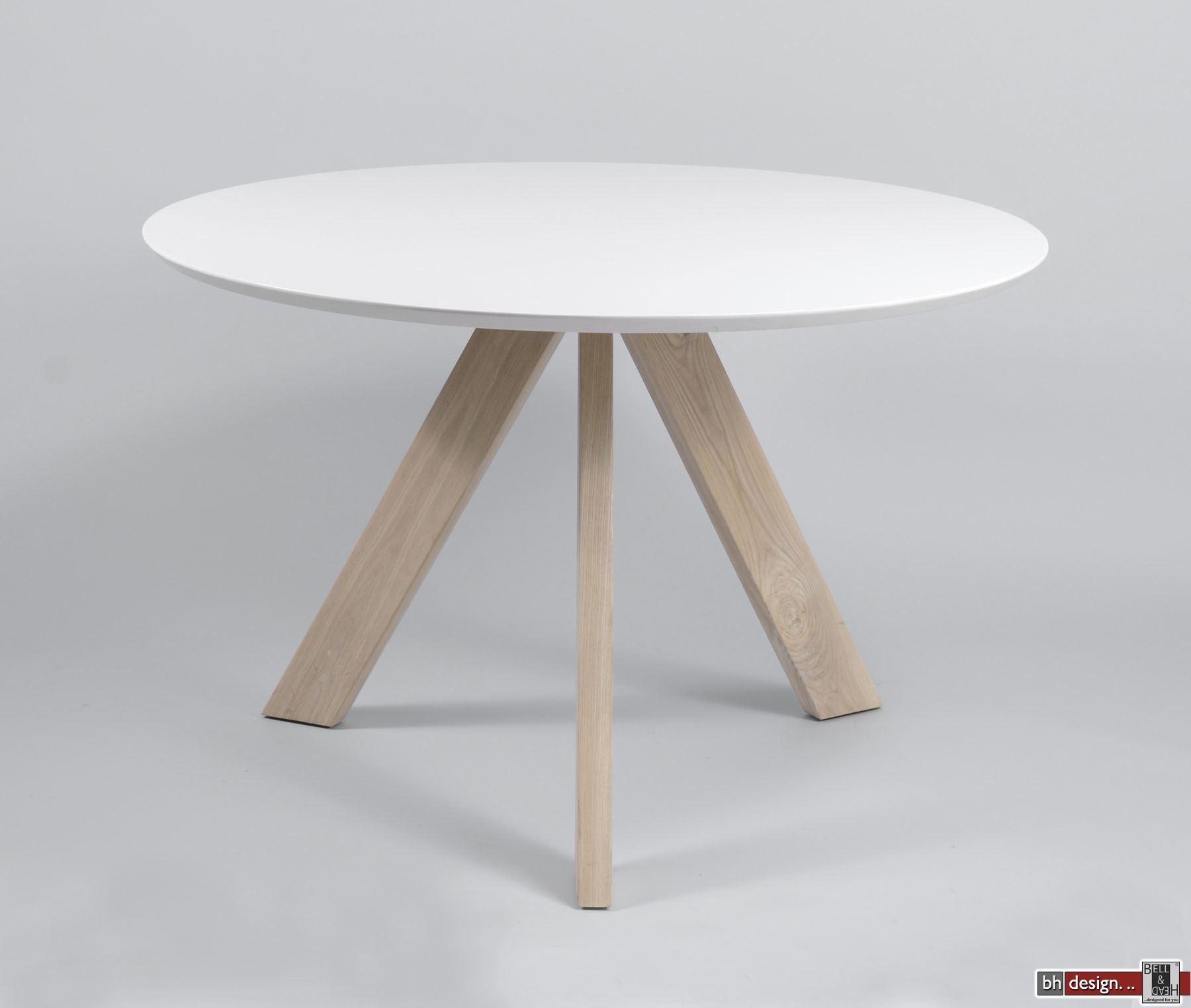 belinda esstisch weiss 120 cm rund mit naturbeinen powered by bell head preiswerte. Black Bedroom Furniture Sets. Home Design Ideas