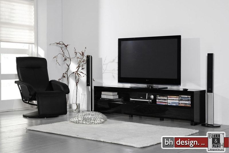 silas tv tisch hochglanz schwarz extrem gloss mit drei. Black Bedroom Furniture Sets. Home Design Ideas