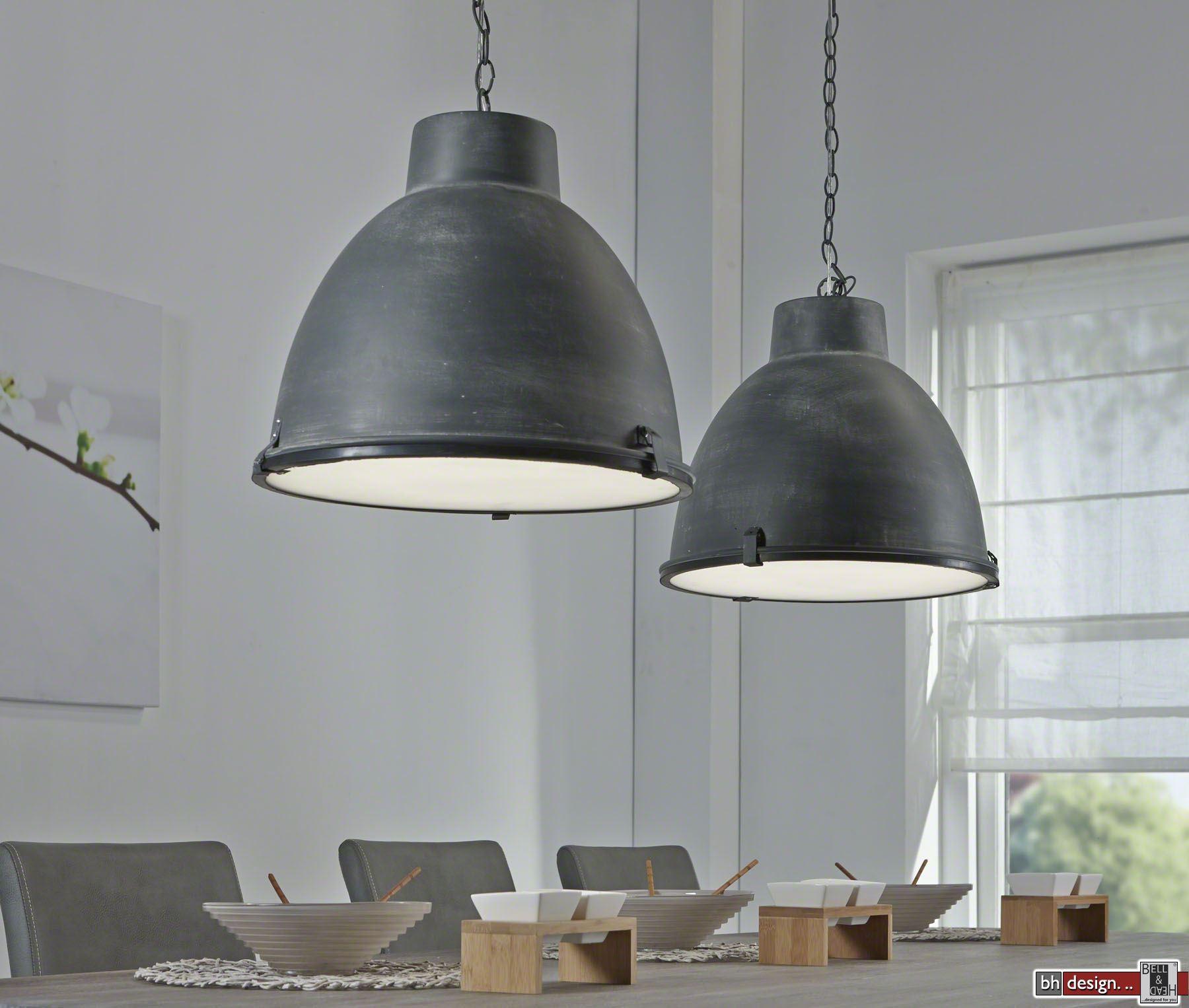 industrie line h ngelampe 2 er set metall grau 125 x h 150 cm powered by bell head. Black Bedroom Furniture Sets. Home Design Ideas