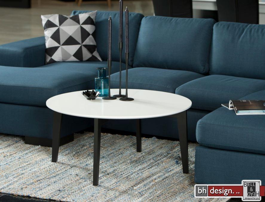 albin couchtisch weiss schwarz lackiert 90 x 90 cm rund. Black Bedroom Furniture Sets. Home Design Ideas