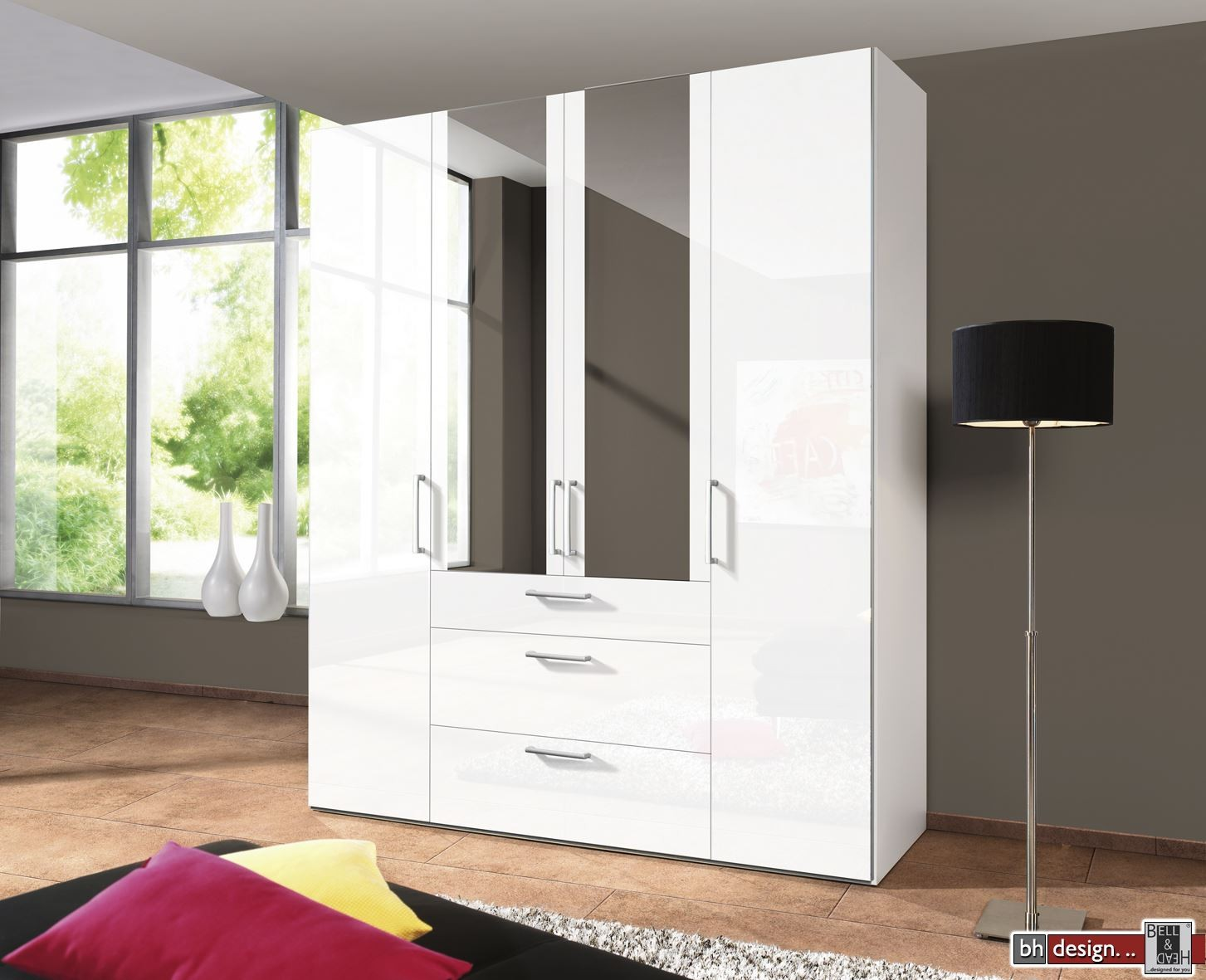 express m bel dreht renschrank brooklyn hochglanz spiegel und schubladen h he 216 cm oder. Black Bedroom Furniture Sets. Home Design Ideas