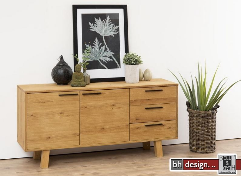 chara sideboard echtholz furnier wildeiche natur ge lt 150 x 71 cm powered by bell head. Black Bedroom Furniture Sets. Home Design Ideas