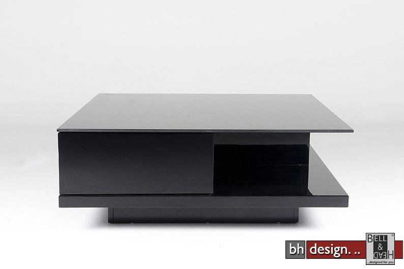 Cliff Couchtisch hochglanz schwarz 100 cm x 100 cm powered