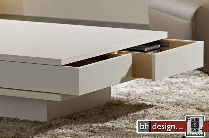 Arte m couchtisch weiss schubladen 100 cm x 100 cm powered for Design couchtisch s 360