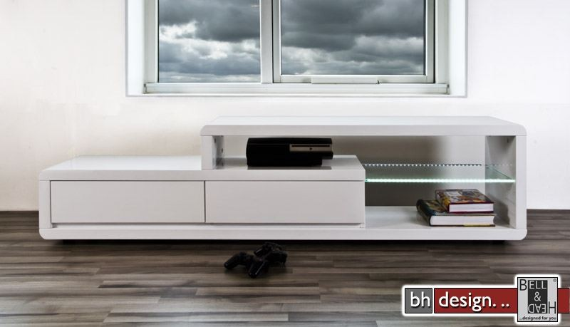 Eran tv tisch hochglanz weiss powered by bell head for Design tv tisch grila